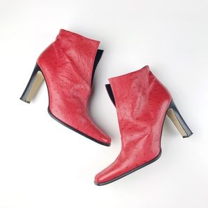 80s Red Ostrich Ankle Boots